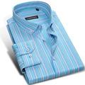 CAIZIYIJIA Fall 2017 Men's Multi-Striped Long-sleeved Casual Dress Shirts Button-down Design Square Collar Regular Fit Shirt Men