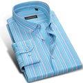 Caiziyijia queda 2017 multi-listrado longo-sleeved dos homens camisas de vestido ocasional botão-down design de colarinho quadrado camisa ajuste regular dos homens