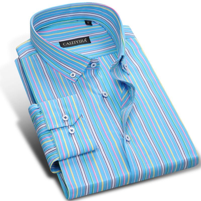 81ff282063 Men's Multicolour Vertical Striped Long-sleeve Dress Shirts 100% Pure Cotton  Male Smart Casual Slim-fit Button-down Tops Shirt
