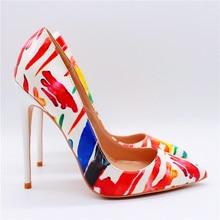 цена на Free shipping fashion women Pumps lady stripe printed Pointy toe high heels shoes 12cm 10cm 8cm bride wedding shoes