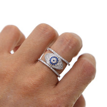 SILVER COLOR lucky Turkish evil eye design full finger women lady fashion jewelry design micro pave cz sparking top quality ring(China)