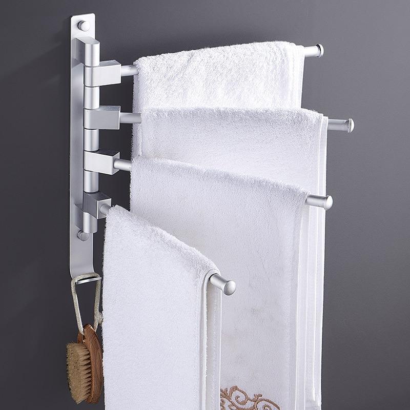 Perforation free toilet towel rack Bathroom rotatable space aluminium multi pole towel pole toilet receptacle rack in Towel Racks from Home Improvement