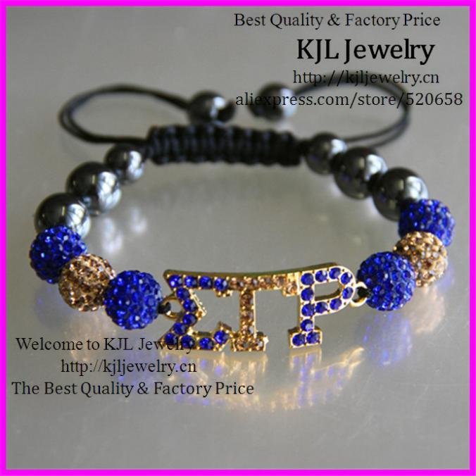free ship! 10pcs macrame Society Union Jewelry connector, greek letter Rhinestone SGRHO Sigma gamma rho connector bracelet