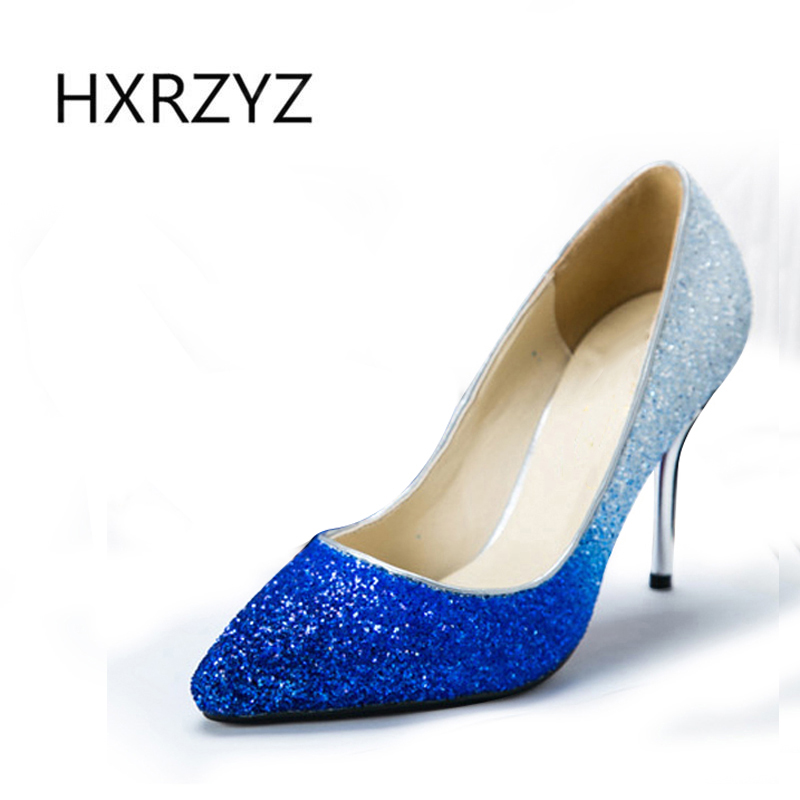 summer new fashion thin heel Gradient sequined fabric pointed toe shoes women club heels women sexy