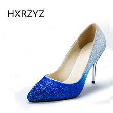 Лето новой моды тонкий каблук градиент блестками ткани указал носок обувь женщин клуб каблуки женщин сексуальный супер высокие каблуки женщин насосы