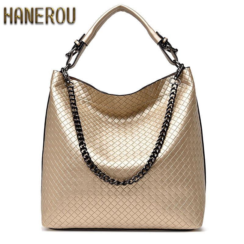 2018Chain Bucket Women Bag New Fashion PU Leather Women Shoulder Bag <font><b>Big</b></font> Luxury Brand Ladies Hand bags Large Tote Bag Sac A Main