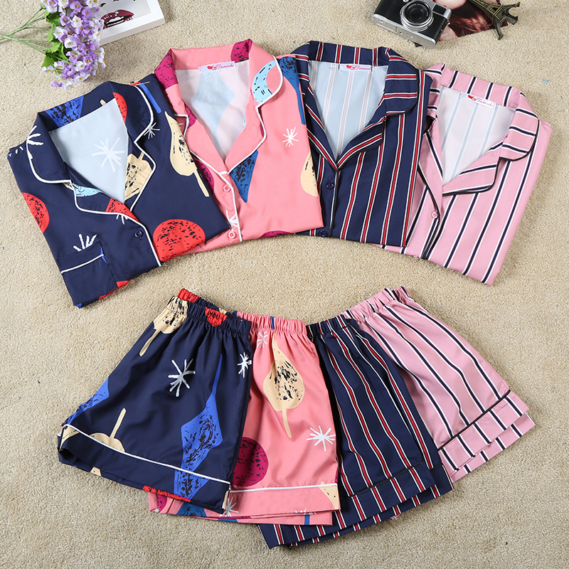 Summer Fashion Women Plus Size   Pajamas   Turn-down Collar Sleepwear 2 Two Piece   Set   Shirt+Shorts Striped Casual   Pajama     Sets