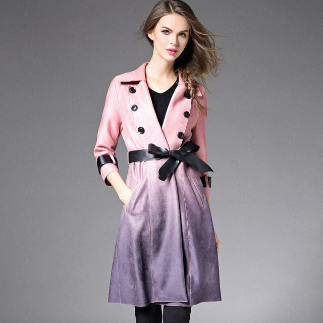 women upscale new fashion elegant  autumn winter  gradient bow  bodycon slim patchwork casual long sleeve  trench coat T5959