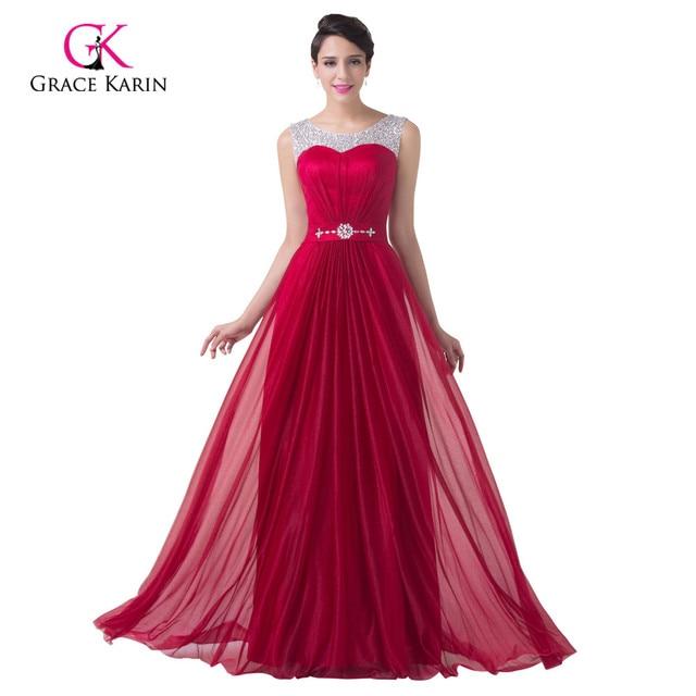 Elegant Burgundy Red Satin Cheap Long Bridesmaid Dresses 2018 A Line