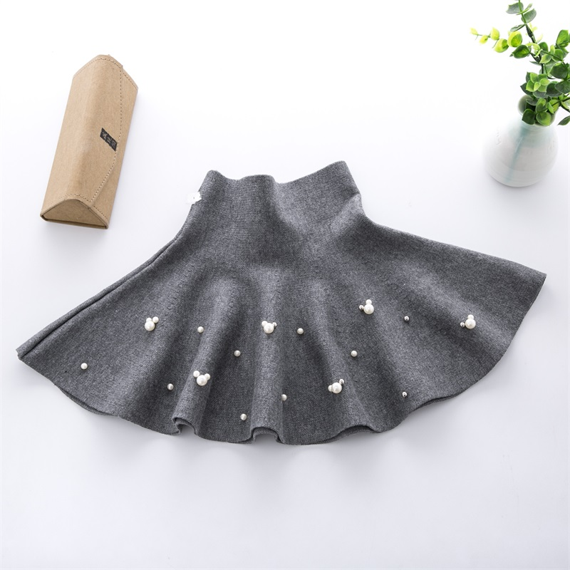 TONGMAO 19 New Fall and Winter Girls Fashion Casual Knit Skirt Children's Clothing Bottoming Pearl Princess Tutu Skirts Wild 3