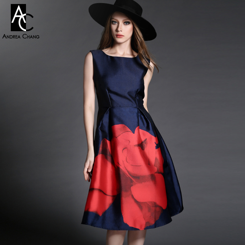 2015 spring autumn designer new women s dresses dark blue mid calf gown big red flower