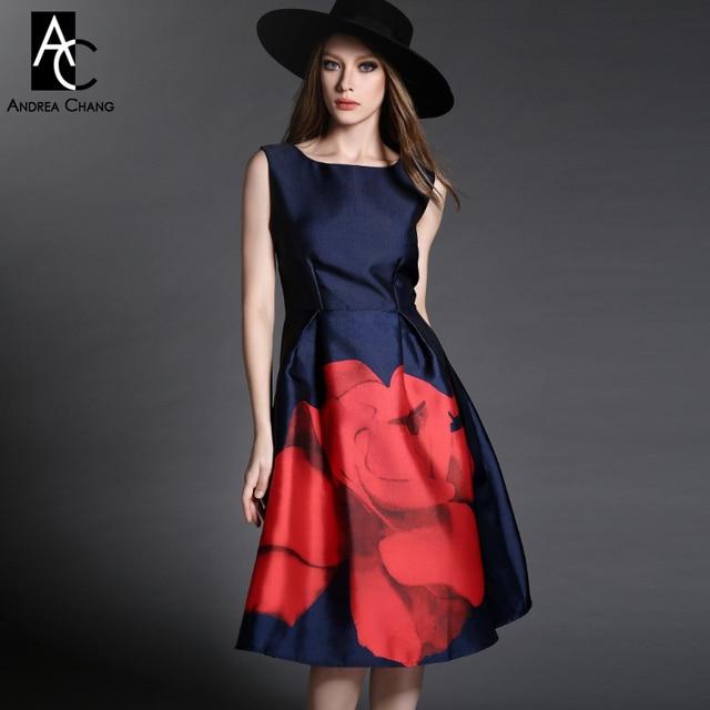 7fc8c142ee1 US $49.99  2015 spring autumn designer new women's dresses dark blue mid  calf gown big red flower print fashion vintage casual brand dress on ...