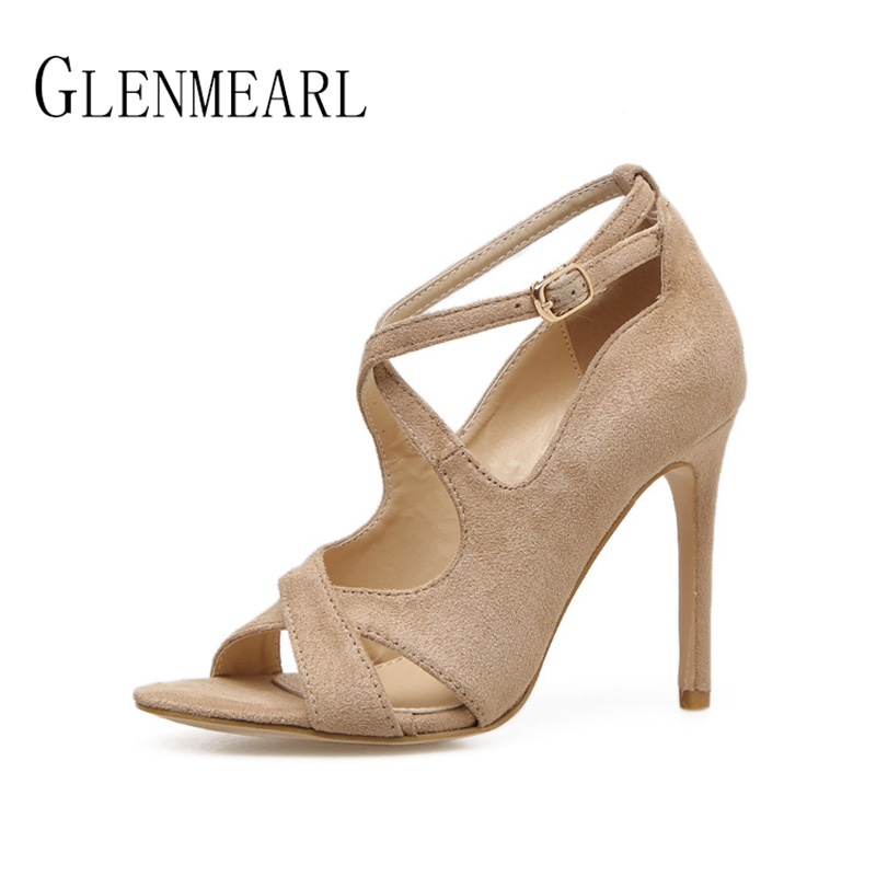 Sexy Women Shoes High Heels Pumps Brand Peep Toe Ankle Strap Woman Pumps Thin Heels Spring Flock Female Party Shoes Plus Size 45 enmayer cross tied shoes woman summer pumps plus size 35 46 sexy party wedding shoes high heels peep toe womens pumps shoe