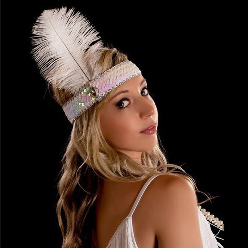 12 Pcs Women Sequin Fler Headband 1920s Charleston Dress Costume Ostrich Feather Head Band Indian Dance Hair Accessories In Jewelry From