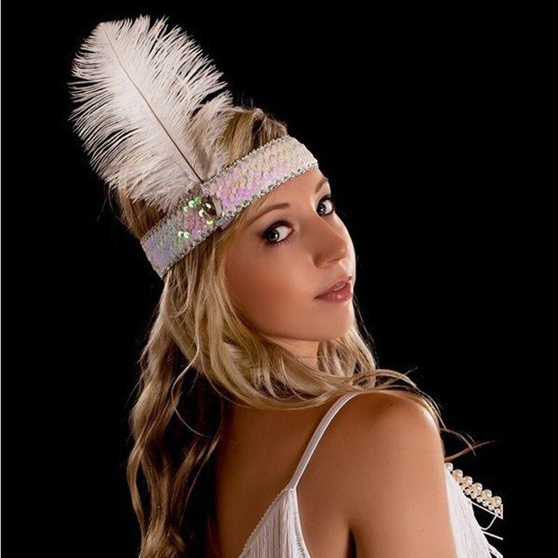 12 PCS Women Sequin Flapper Headband 1920s Charleston Dress Costume Ostrich Feather Head Band Indian Dance Hair Accessories