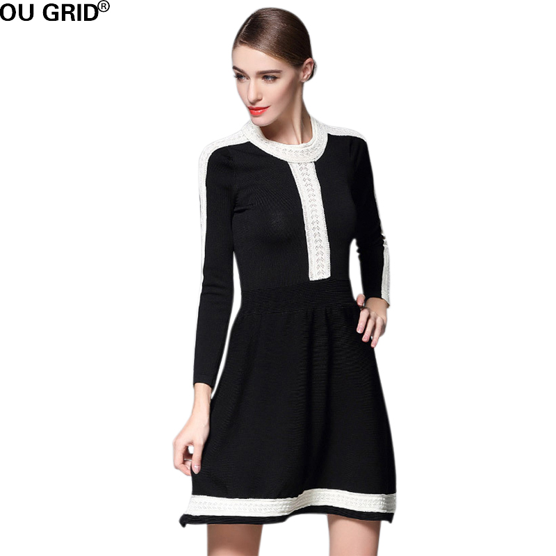 Winter Autumn Sweater Dress 2017 Runway Style Womens Black&White Block Color Brand Design Casual A-line knitted Dresses