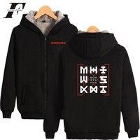 LUCKYFRIDAYF 2018 Monster X Thick Winter Warm Hoodie Sweatshirt Zipper Fashion Jacket High Quality Coat Sweatshirt Hoodies