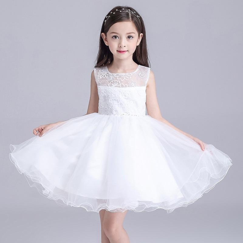 White Flower Girl Dresses Children Round Neck Sleeveless
