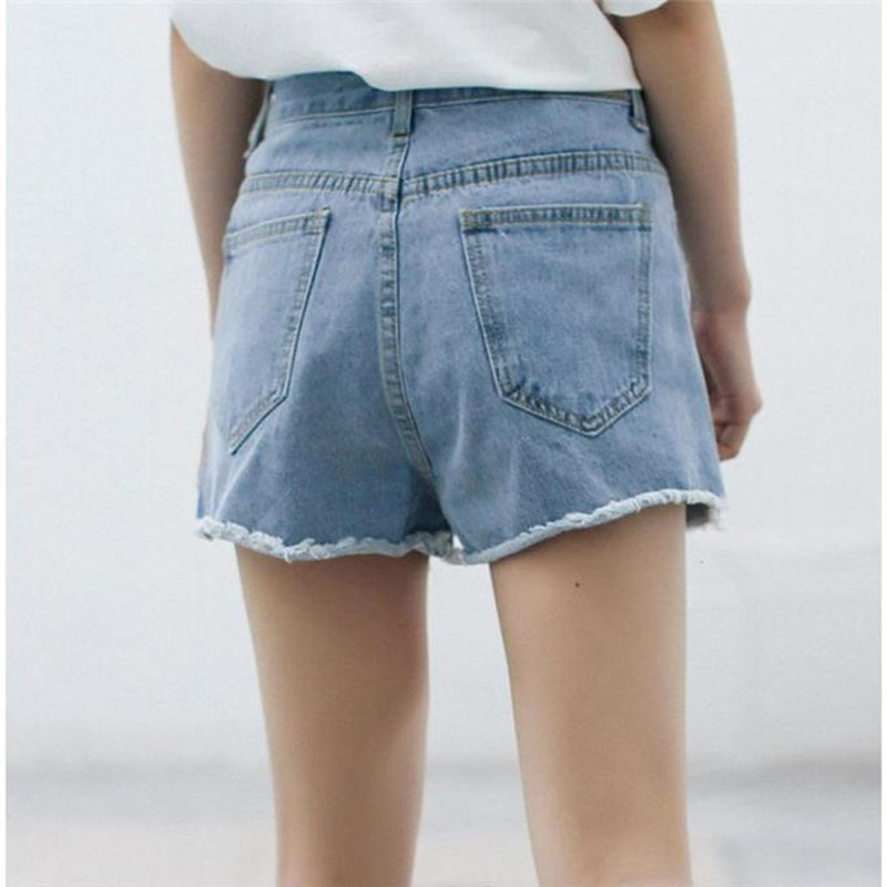 2019 Summer High Waist Denim Shorts Female Split Short Jeans for Women Fashion Pockets Ladies Shorts Solid Denim Shorts in Shorts from Women 39 s Clothing