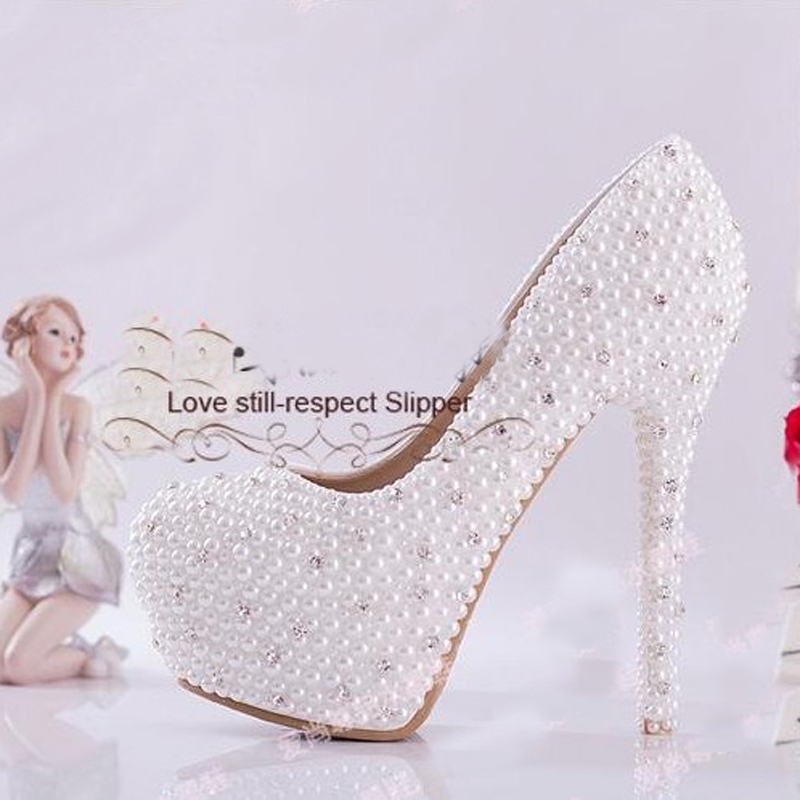 4c8ef48bdffbd Luxury 4Inches high heel full Pearls lady s formal Jeweled Women s Beaded  Bridal Evening Wedding Prom Party Bridesmaid shoes-in Women s Pumps from  Shoes on ...