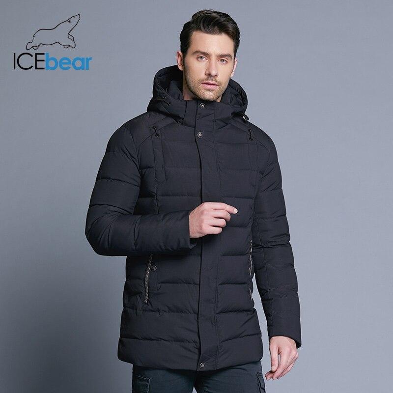 ICEbear 2018 dei nuovi uomini di rivestimento caldo di inverno staccabile cappello maschile breve cappotto di moda casual abbigliamento uomo abbigliamento di marca MWD18813D-in Parka da Abbigliamento da uomo su  Gruppo 2