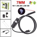 7 MM 6 LED USB Lente PC Android Endoscopia Endoscopio Impermeable Boroscopio Cámara de inspección con 1 m 1.5 m 2 m 3.5 m 5 m de Longitud Cable