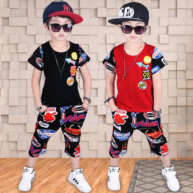 2018 verano caliente niños de moda traje de Deportes de niño masculino ropa  de manga corta 3ebd733e1267e