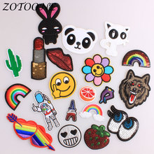 ZOTOONE Applique Embroidery Flower Patches for Clothes Decoration Sequin Animal Rabbit Heart Iron on Clothing Patch