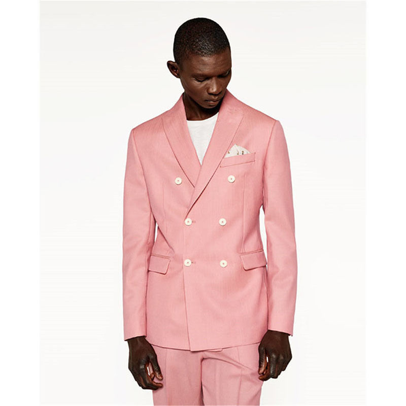 Custom Made Pink Men Wedding Suits Groom Best Man Tuxedos Formal Business Suits Wedding  ...