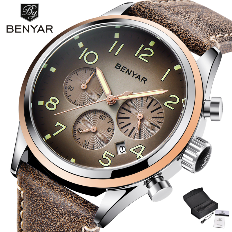 BENYAR Sport Watch Men Fashion Chronograph Quartz Wristwatch Leather Strap Mens Watches Top Brand Luxury relogio masculino Xfcs skone skull sport watch men top brand luxury mens quartz watch skeleton silicone luminous watches relogio masculino hodinky xfcs page 3