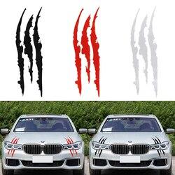 40 см * 12 см Автомобильная Светоотражающая наклейка монстра черный/белый/красный полоска от царапин коготь метки авто передняя фара, винил на...