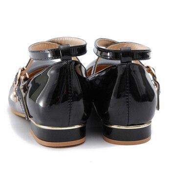 черная краска для обуви | Прелестные туфли в Корейском стиле; стильные и удобные туфли круглый носок краска туфли-лодочки модные женские туфли с ремешком на зеркало ...