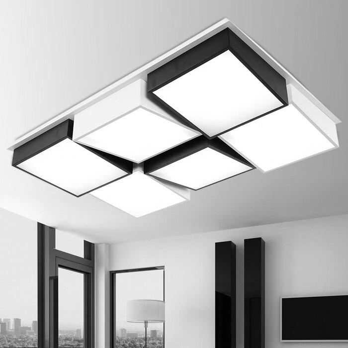 Işıklar ve Aydınlatma'ten Tavan Işıkları'de Modern basit Led akrilik tavan ışıkları geometri dikdörtgen beyaz/siyah renk için oturma odası yatak odası ev aydınlatma armatürü