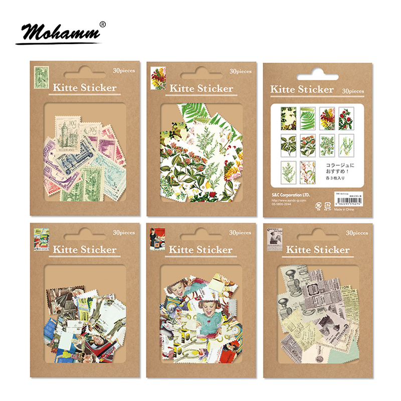30Pcs/set Creative Retro Stamps Mini Paper Sticker Decoration Diy Diary Scrapbooking Seal Sticker Kawaii Stationery creative kawaii stamps cute crystal seal small stamp diy diary blessing ink pad clear stamp for scrapbooking tinta sellos
