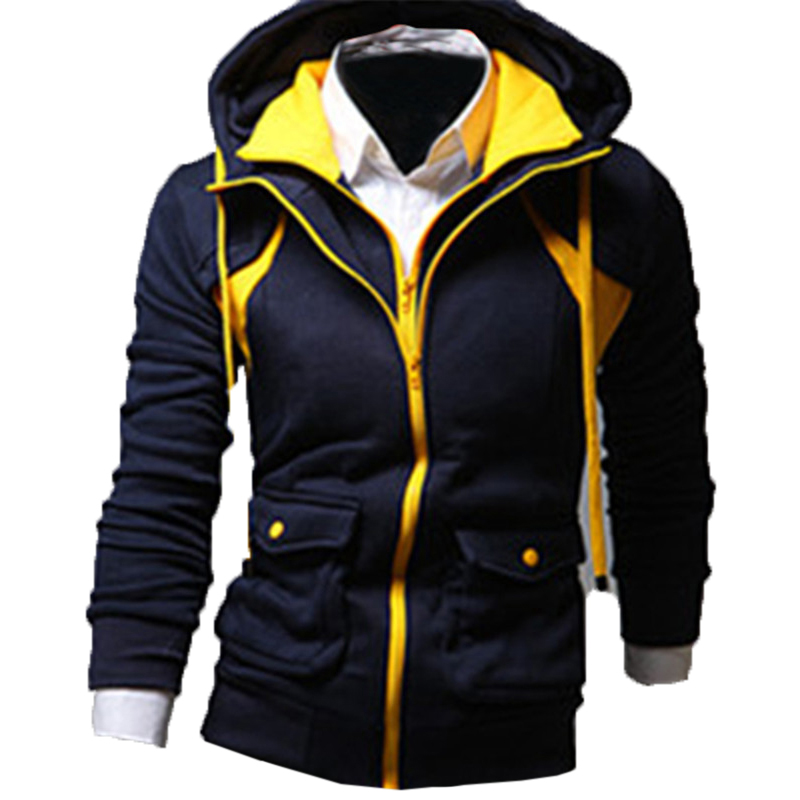 Fashion Mens Hoodies Sweatshirts Hooded Slim Fit Zipper UP Hoodie Jackets Outerwear Fleece Tracksuits Warm Winter Mens Clothing