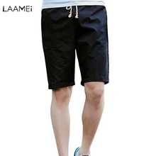 Laamei Cool Short Masculino Brand Men Casual Shorts Summer Street Wear Boardshorts Plus Size Solid Lace-up Shorts