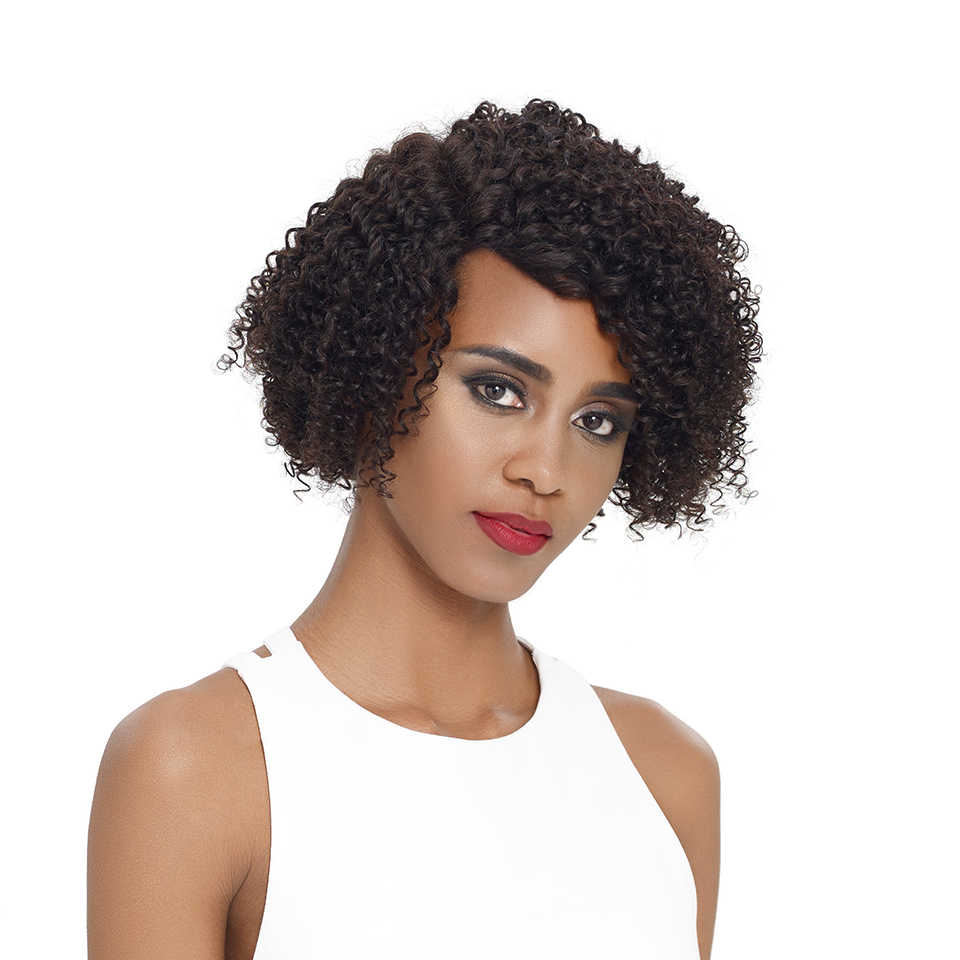 Remy Forte Lace Front Human Hair Wigs Curly Short Real Human Hair Wigs 100% Remy Peruvian Hair Lace Wigs  U Part Women's Wigs