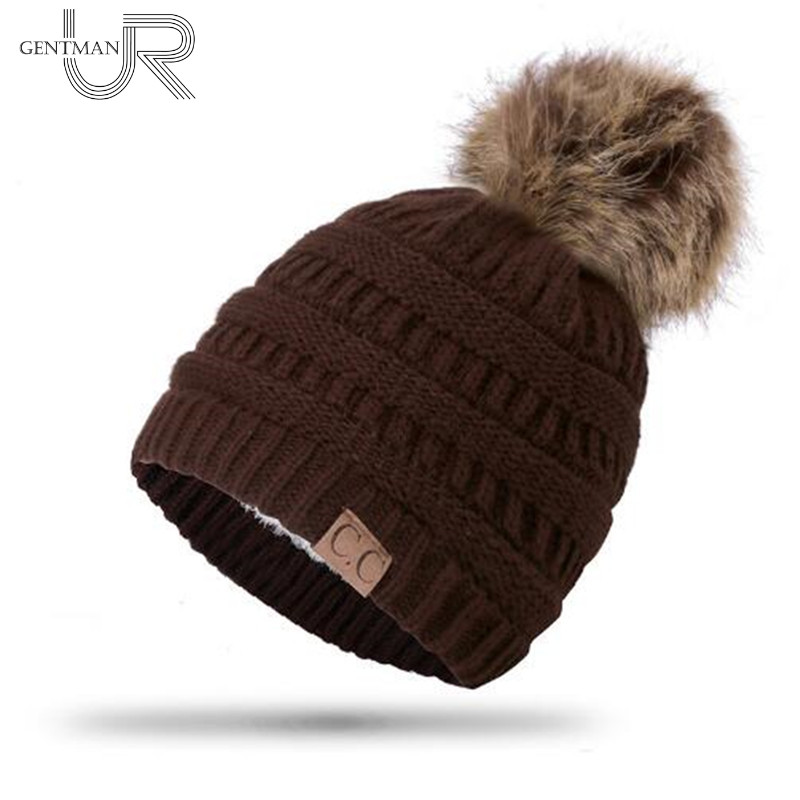 High Quality Letter CC Beanies Add Wool Fur Lined Cap Pompoms Winter Hat For Women Girl's Hat Knitted Warm Cap Dropshipping Hat high quality real fur ball pompom winter hat for women wool hat knitted cotton beanies cap brand new thick female hat