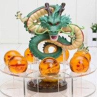 Dragon Ball Z Shenron PVC Action Figures Toys Golden Green Dragon 7Pcs 3.5cm Dragonball Z Crystal Balls + Shelf Great Gift