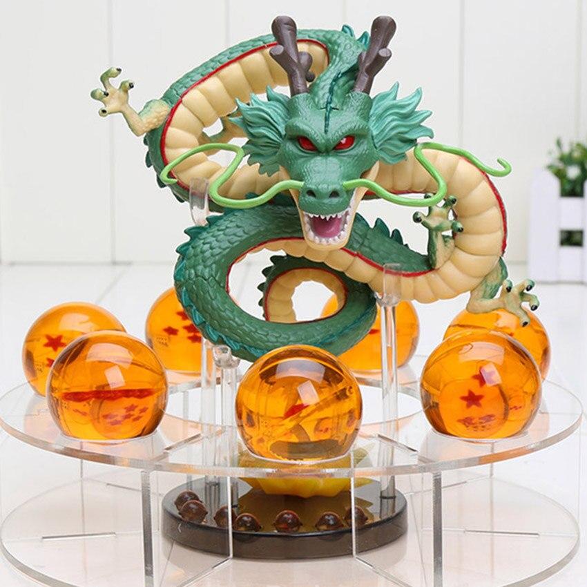 Dragon Ball Z Shenron PVC figuras de acción juguetes Golden Green Dragon 7 unids PCs 3,5 cm Dragonball Z bolas de cristal + estante gran regalo