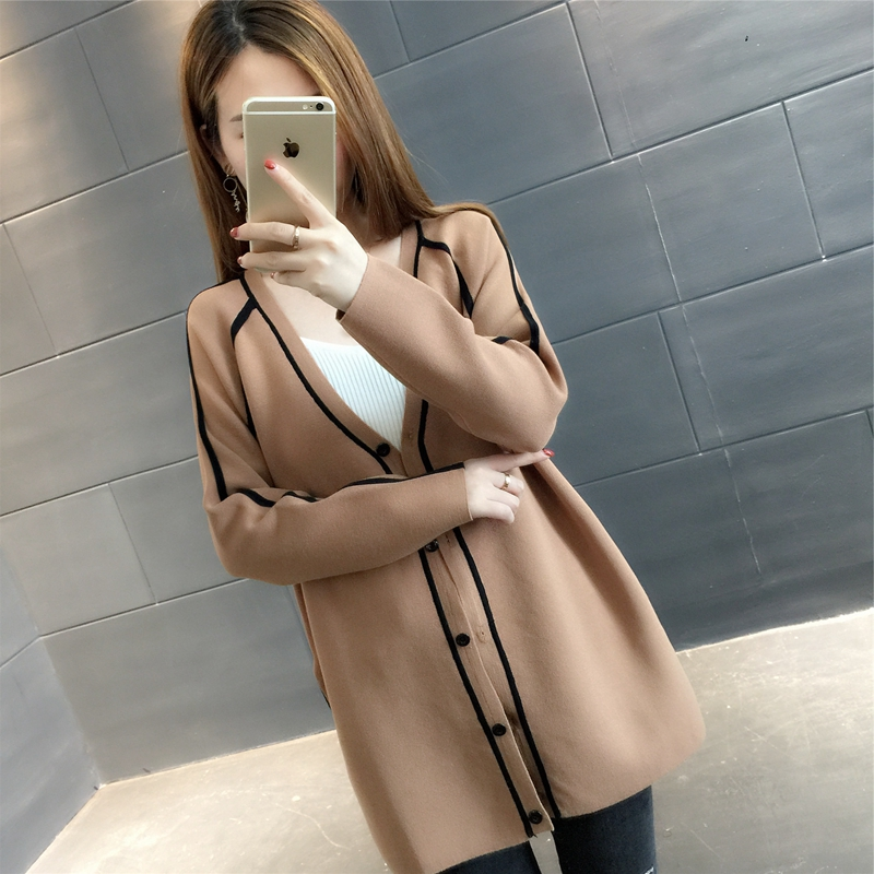 Autumn women Cardigans 2018 fashion new pure color medium long section Single-breasted v neck knitting slim female sweater ll560