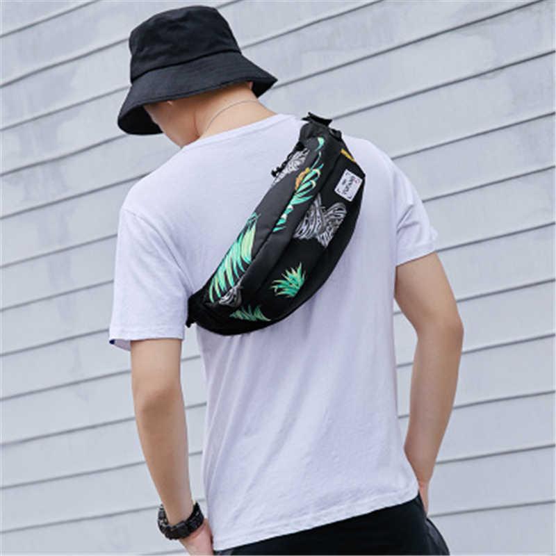 Yufan Fashion Pria Tas Pinggang Printing Tas Selempang Dada Multi-Fungsi Kolam Penyimpanan Tas Pria dan Wanita Tas Bahu