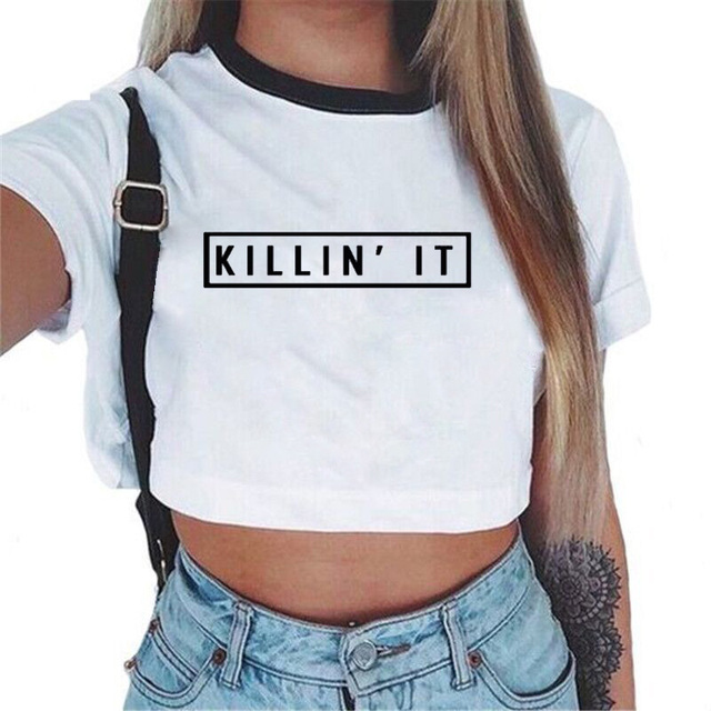 Women'S Sexy Letters Prints T Shirt 2017 Summer Casual Ladies Short Sleeve  O Neck Crop Top