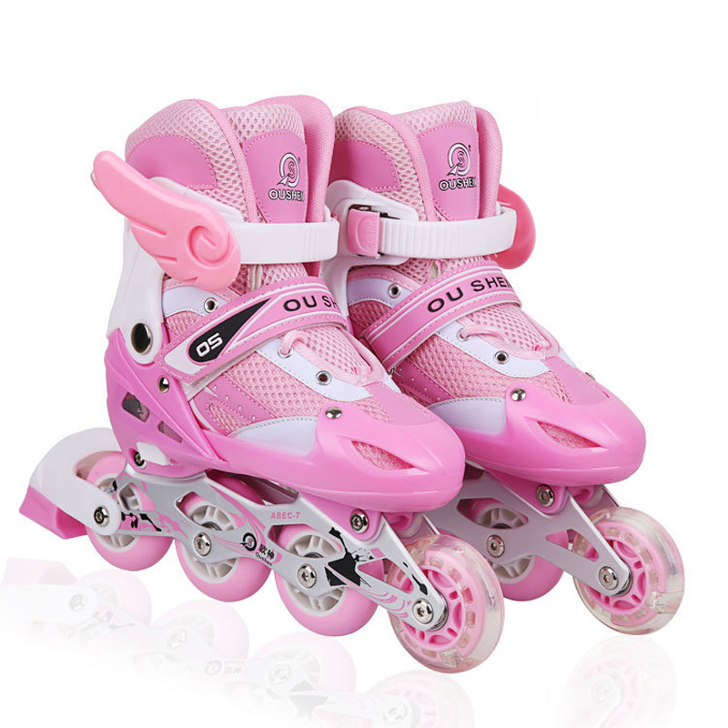 1 Pair Adult Children Inline Skate Roller Skating Shoes Adjustable Washable PVC Hard wheels One Front Wheel Flashing Patines цена
