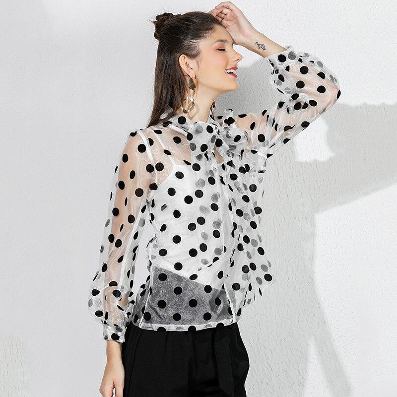 Only Plus 2019 nouveau chemisier en Organza avec col à noeud voir si ample chemisier à pois mode blanc Transparent hauts