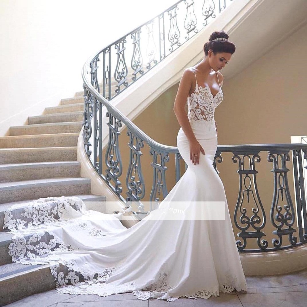 Lace Mermaid Wedding Gown With Straps: 2019 Spaghetti Straps Lace Mermaid Wedding Dresses Satin