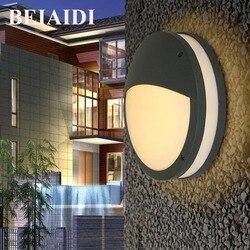 BEIAIDI 12 W wodoodporny okrągły ganek światła SMD5730 aluminium lampa ścienna Led IP54 na świeżym powietrzu dziedziniec willa korytarz ścienny światła na ścianie