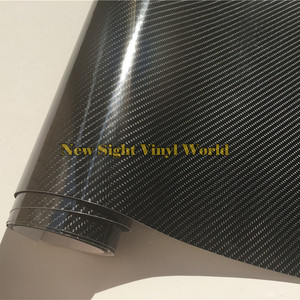 Image 1 - プレミアムスーパー光沢のある黒 5D 炭素繊維フィルム 4D テクスチャカーステッカーフェデックス送料チャンネル車両バイク