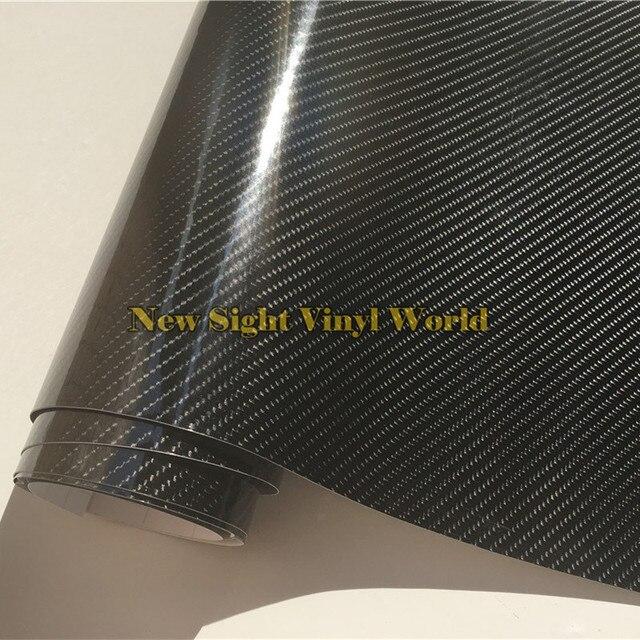 プレミアムスーパー光沢のある黒 5D 炭素繊維フィルム 4D テクスチャカーステッカーフェデックス送料チャンネル車両バイク