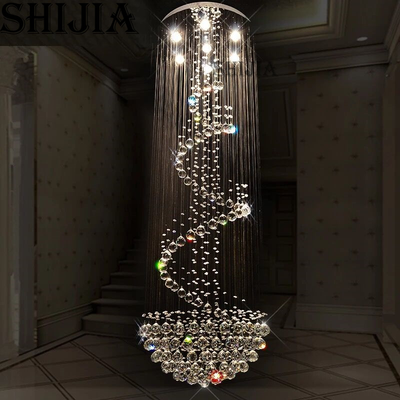 modern luxury spiral design crystal chandelier lighting large stair lustre led lights Dia80 H260cm Guarantee 100 in Ceiling Lights from Lights Lighting